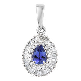 Rhapsody AAAA Tanzanite (0.60 Ct) and Diamond 950 Platinum Pendant  1.000  Ct.
