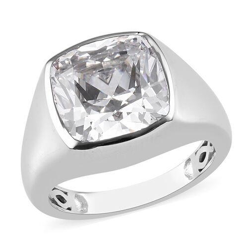 J Francis Platinum Overlay Sterling Silver Solitaire Ring Made with SWAROVSKI ZIRCONIA 15.35 Ct, Sil