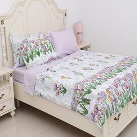 6 Piece Set - Lilac Colour Floral Pattern Duvet Cover (Size 200x200 Cm), 4 Pillow Case (Size 4x50x70