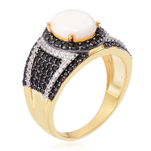 Ethiopian Welo Opal (Ovl 10x8 mm), Boi Ploi Black Spinel and Natural Cambodian White Zircon Ring in Yellow Gold Vermeil Sterling Silver 3.480 Ct, Silver wt 5.30 Gms, Number of Gemstone 153.