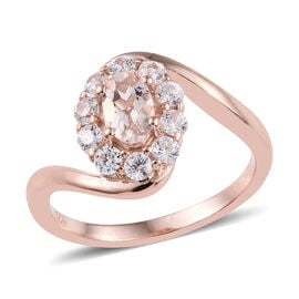 Marropino Morganite (Ovl), Natural Cambodian Zircon Ring in Rose Gold Overlay Sterling Silver 1.00 C
