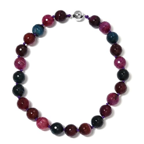 Limited Edition- Watermelon Agate (Rnd) Beads Necklace (Size 18) with Magnetic Lock in Rhodium Overl