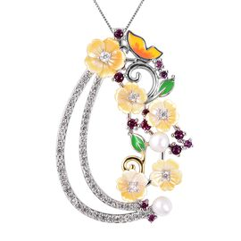 Jardin Collection Mother of Pearl and Multi Gemstone Floral Pendant With Chain in Silver