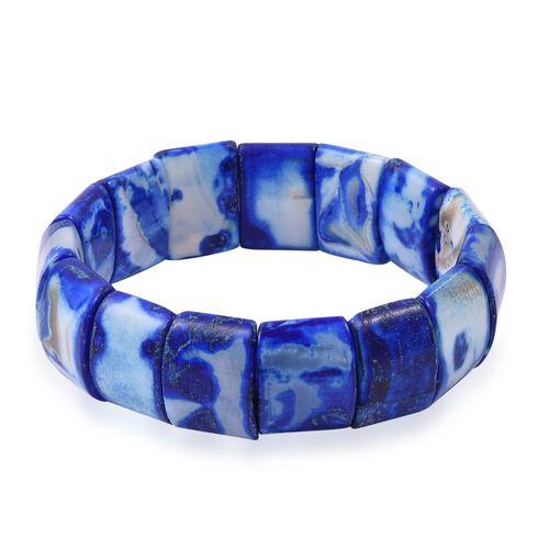Blue Agate (Cush 20x15) Stretchable Bracelet (Size 7.5)  333.500 Ct