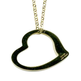 9K Yellow Gold Heart Pendant with Chain (Size 17.5)