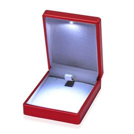 Solid Red Colour Earrings Box with LED Light (Size 9x2.5x7 Cm)