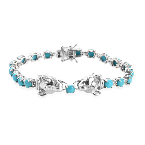 11.72 Ct Sleeping Beauty Turquoise and Zircon Elephant Bracelet in Platinum Plated Silver 7 Inch