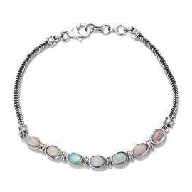 Ethiopian Welo Opal (Ovl) Bracelet (Size 7.5) in Sterling Silver, Silver wt 5.42 Gms