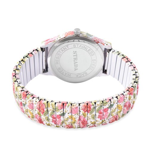 STRADA Japanese Movement Pink Floral Pattern Water Resistant Watch with Stretchable Strap (Size 6.5-7)