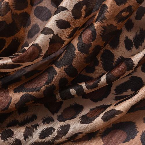 LA MAREY New Collection - 100% Mulberry Silk Leopard Print Scarf (Size 180x110cm) - Brown