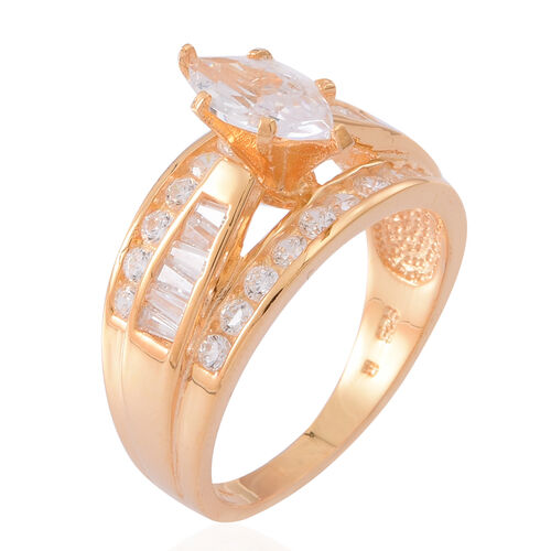 ELANZA AAA Simulated Diamond (Mrq) Ring in Yellow Gold Overlay Sterling Silver
