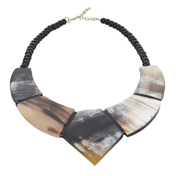 100% Genuine Natural Brown & Black Buffalo Horn Necklace (Size 20-22 in)