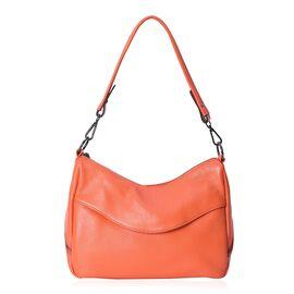 100% Genuine Super Soft Leather Shoulder Bag with External Zipper Pockets and Removable Shoulder Str