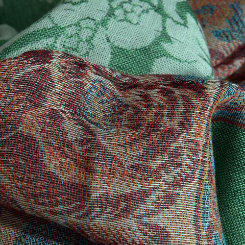 Green and Multi Colour Floral Pattern Scarf (Size 180x70 Cm)