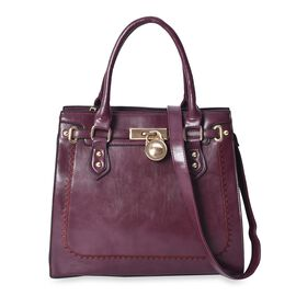 Dark Purple Satchel Bag with Detachable Shoulder Strap and External Zipper Pocket (Size 32x31x11 Cm)