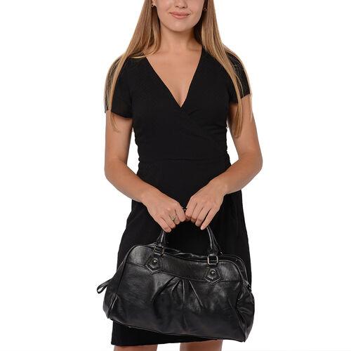 Super Soft Tote Handbag with Detachable Shoulder Strap and Zipper Closure (Size 39.5x13x23cm) - Black
