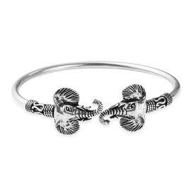 Elephant Head Cuff Bangle in Sterling Silver 17.10 Grams 7.5 Inch