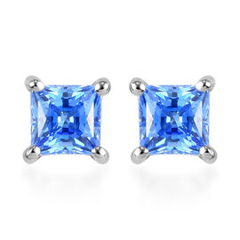 J Francis Platinum Overlay Sterling Silver Stud Earrings (with Push Back) Made with Arctic Blue SWAR