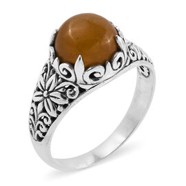 Royal Bali Collection Yellow Jade (Rnd) Flower Ring in Oxidised Sterling Silver 4.750 Ct.