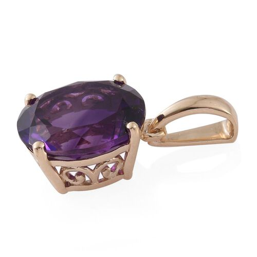 9K Y Gold AAA Moroccan Amethyst (Ovl) Solitaire Pendant 4.750 Ct.