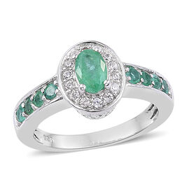 0.75 Ct Zambian Emerald and Cambodian Zircon Halo Ring in Platinum Plated Sterling Silver