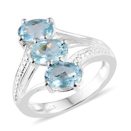 Sky Blue Topaz (Ovl) Trilogy Ring in Sterling Silver 2.750 Ct.