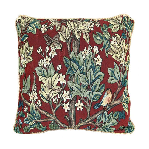 Signare Tapestry Art Cushion Cover inspired by William Morris Tree of Life (Size 45x45cm) - Red