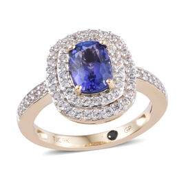 GP 9K Yellow Gold AA Tanzanite (Cush 8x6 mm), Natural Cambodian Zircon and Blue Sapphire Ring 2.00 C