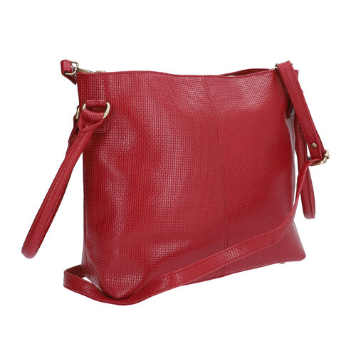 100% Genuine Leather Weave Pattern Designer Handbag with Detachable Shoulder Strap (Size 30x13x28 Cm) - Red