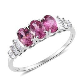 Show Stopper- 9K W Gold AA Ouro Fino Rubelite (Ovl) and Diamond Ballerina Ring 1.250 Ct.