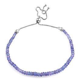 Tanzanite (Rnd) Beads Bracelet (Size 6.5-10 Adjustable) in Rhodium Overlay Sterling Silver 12.960 Ct