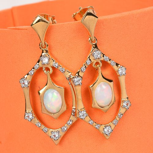 Ethiopian Welo Opal and Natural Cambodian Zircon Dangle Earrings (with Push Back) in 14K Gold Overlay Sterling Silver 2.00 Ct, Silver wt. 5.60 Gms
