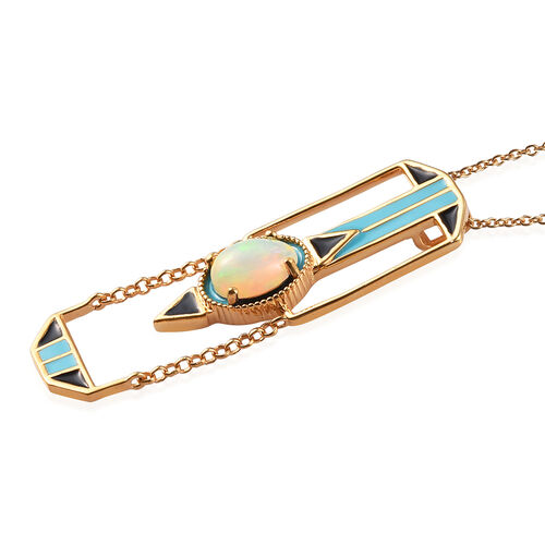 GP Ethiopian Welo Opal and Blue Sapphire Enamelled Pendant with Chain (Size 20) in 14K Gold Overlay Sterling Silver 1.10 Ct.