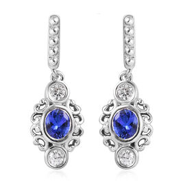 Tanzanite and Natural Cambodian Zircon Dangling Earrings (with Push Back) in Platinum Overlay Sterli