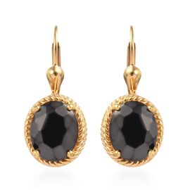 3 Carat Shungite Solitaire Drop Earring in 14K Gold Plated Silver