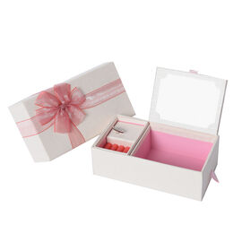 Castle in the Sky Music Jewellery Box with Ring Section and Extendable Mirror in Cream Colour with R