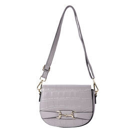 Close Out Deal- 100% Genuine Leather Crossbody Bag with Detachable Strap (Size 17x7x21cm) - Grey