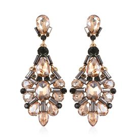 Simulated Marropino Morganite (Pear), Grey Austrian Crystal Earrings in Gold Tone