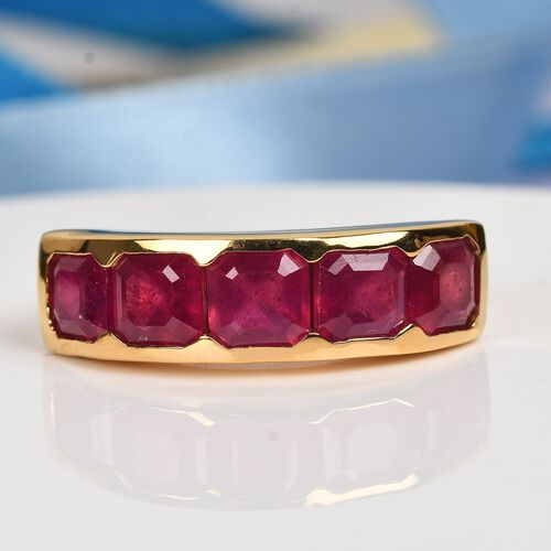 African Ruby Half Eternity Band Ring in 14K Gold Overlay Sterling Silver 3.75 Ct.