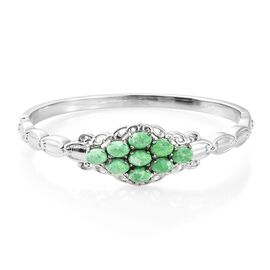 Super Auction-Green Howlite (Ovl 7x5 mm) Bangle (Size 7.5) in Ion Plated Stainless Steel 6.000 Ct.