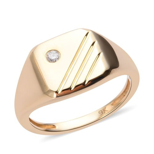 Diamond Signet Ring in 9K Yellow Gold SGL Certified I3 GH