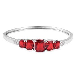 Simulated Ruby and Simulated Diamond 5 Stone Bangle in Silver Plated 8.25 Inch