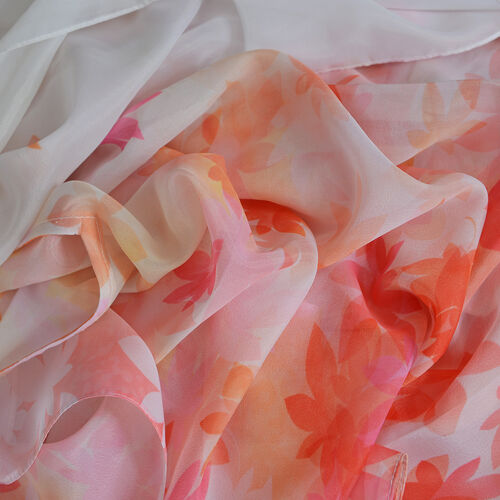 Orange, Pink and Multi Colour Flower Pattern Kaftan (Size 90x65 Cm)