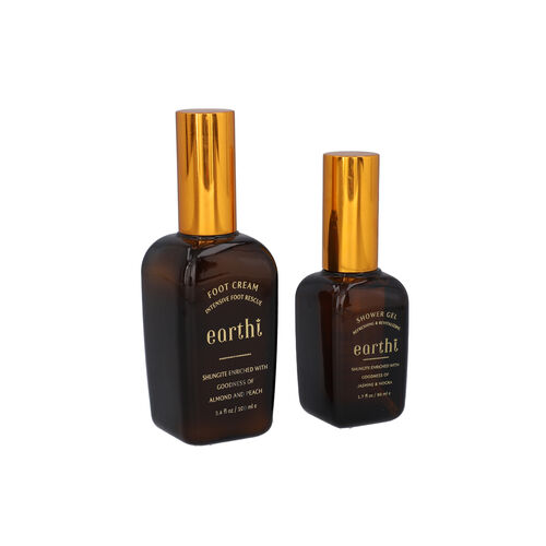 Shungite Enriched Earthi Almond and Peach Foot Cream with Complementary Jasmine and Mogra Shower Gel (100ml+50ml)