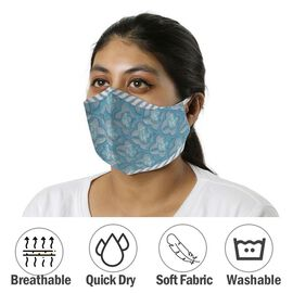 Monster Deal -2 Piece Set - 100% Cotton Hand Block Print Double Layer Reusable Face Mask - Blue and