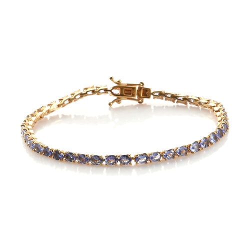 Tanzanite (7.50 Ct) 14K Gold Overlay Sterling Silver Bracelet (Size 7.5)  7.500  Ct.