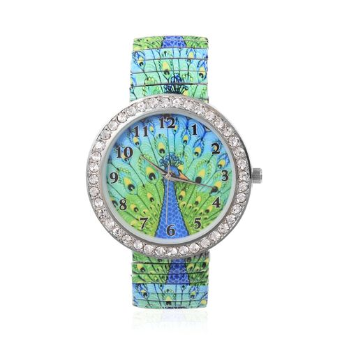 Set of 2 STRADA Japanese Movement White Crystal Studded Water Resistant Watch with Peacock Pattern Strap and Green Colour Pen