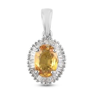 RHAPSODY 950 Platinum, Yellow Sapphire and (VS/E-F) Diamond Pendant 1.23 Ct