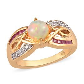Ethiopian Welo Opal, African Ruby (FF) and Natural Cambodian Zircon Ring in 14K Gold Overlay Sterlin