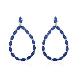 ELANZA Simulated Blue Sapphire (Mrq) Drop Earrings in Rhodium Overlay Sterling Silver